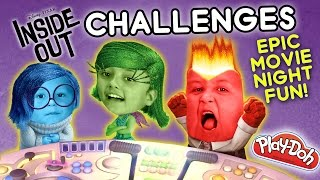 INSIDE OUT CHALLENGE x 2 - Movie Night Fun w/ Playdoh & Clothes (FUNnel Vision Disney Sillyness)