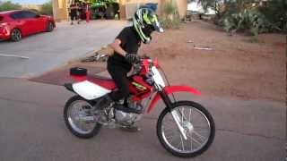 10. Joel's first drive on our Honda CRF 100