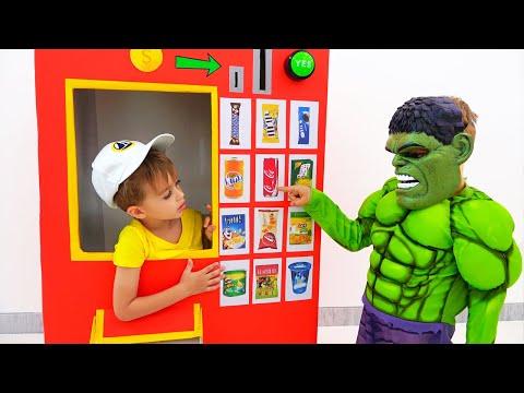 Vlad and Nikita superheroes vending machine kids toy story