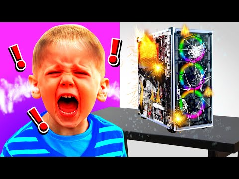 I Caught My LITTLE BROTHER DESTROYING His COMPUTER When He Got BANNED!