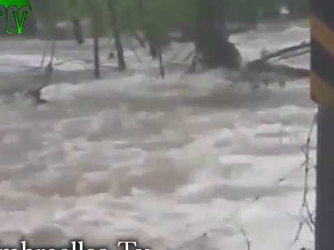 Video shows bridge washed out by heavy rain near Springfield, Missouri.