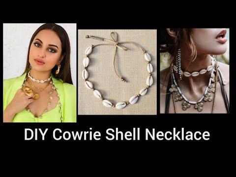 How to make a shell choker  Adjustable Beach Cowry Choker  DIY beautiful Cowry Shell African Choker