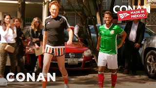 Conan hasn't kicked a ball around since 1974, so he gets an assist from LA Galaxy star and Mexican native, Giovani Dos Santos.
