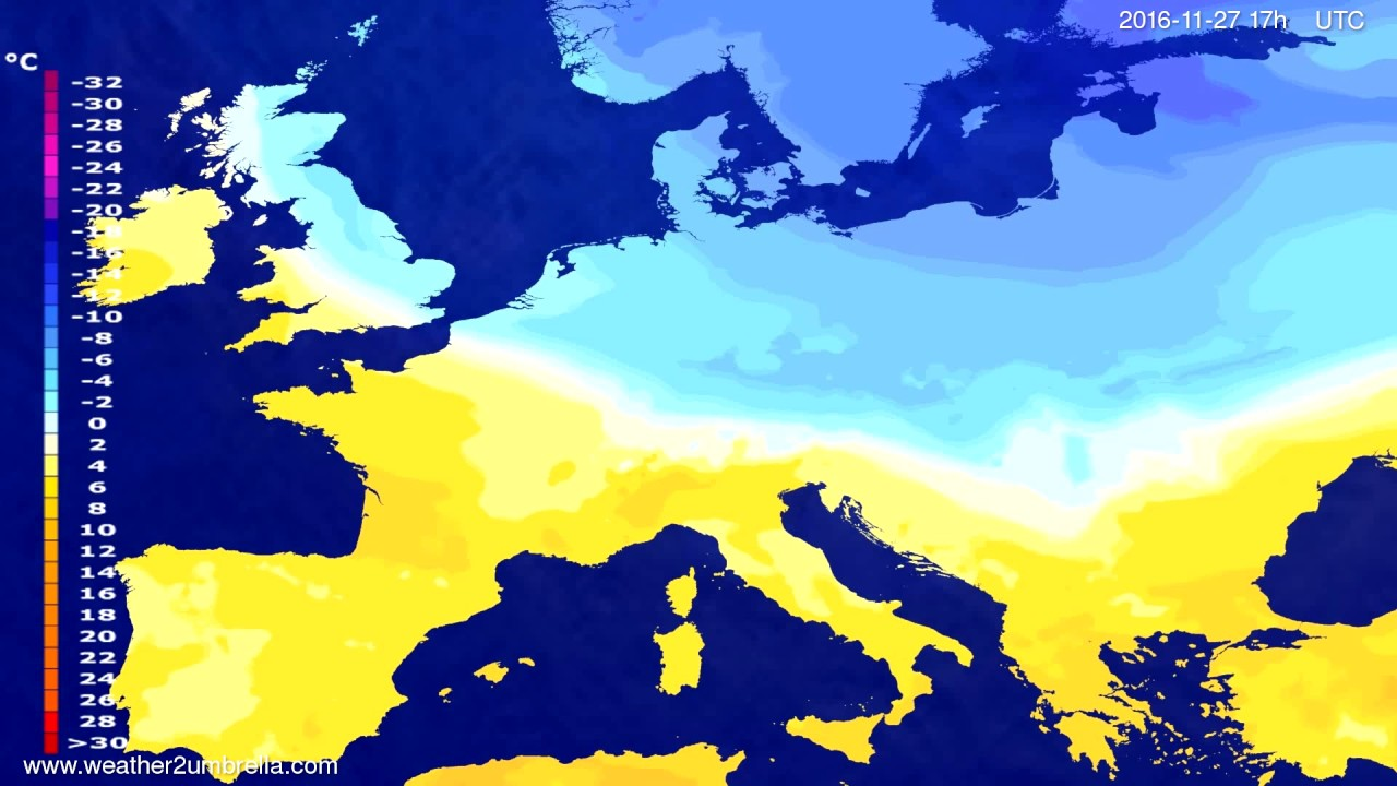 Temperature forecast Europe 2016-11-25