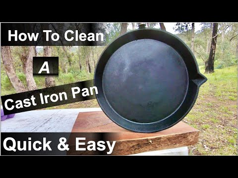 How To Clean A CAST IRON PAN After Cooking On The Campfire.