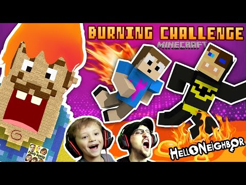 BURNING HELLO NEIGHBOR MINECRAFT CHALLENGE! FGTEEV Duddy vs. Chase Firey Structures Batman Mini-Game (видео)