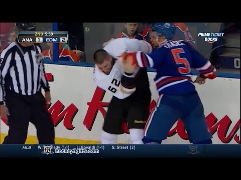 Fraser - Patrick Maroon vs Mark Fraser from the Anaheim Ducks at Edmonton Oilers game on Apr 6, 2014. via http://www.hockeyfights.com.