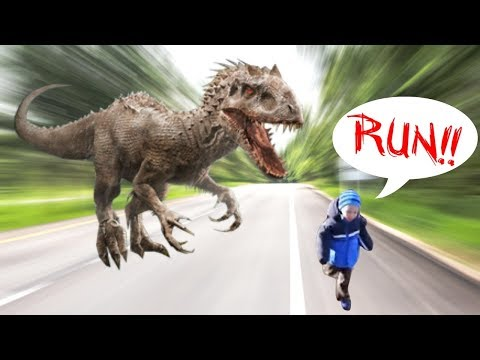 Zach is scared by Dinosaur