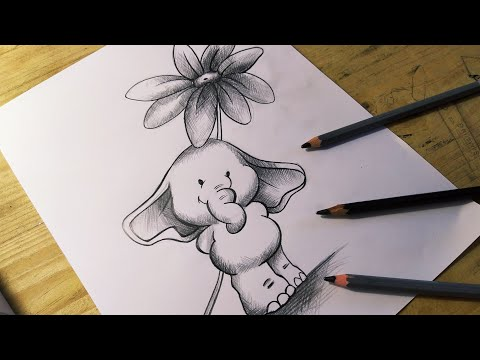 """Como hacer un dibujo tierno """"ELEFANTE"""" - DIBUJOS DE AMOR"""