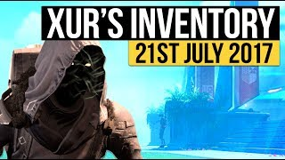 Destiny - Xur location Today: New Exotic Inventory 21 - 23 July 2017 (Rise of Iron)▻ LATEST DESTINY 2 NEWS https://www.youtube.com/playlist?list=PL7I7pUw5a282KrtVZEeCChYgyjsa3kd_2▻SUBSCRIBE for more destiny videoshttps://www.youtube.com/subscription_center?add_user=Houndishgiggle1910▻Use code 'Houndish' for 10% off KontrolFreek Productshttp://www.kontrolfreek.com?a_aid=Houndish▻Say Hi on Twitterhttps://twitter.com/xHOUNDISHx- If you enjoy my content, consider checking out my Patreon page. You can support the channel and earn awesome rewards. I appreciate you all regardless :) https://www.patreon.com/Houndish- Music: Lensko - Circles & Veorra - Home