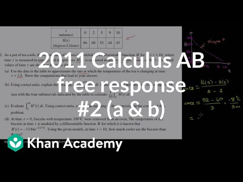 2011 Calculus AB Free Response 2 A B Video Khan Academy