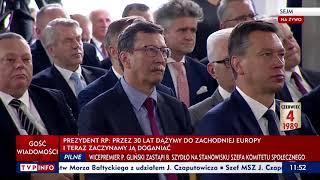 Prezydent Andrzej Duda: Patrzę dzisiaj z uśmiechem na to, jak postkomuniści, byli uczestnicy komunistycznego reżimu, pouczają nas, co to znaczy demokracja