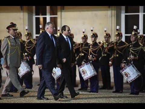 السيسي فى فرنسا - مراسم استقبال بالخيالة للرئيس السيسي بمجلس الشيوخ الفرنسى
