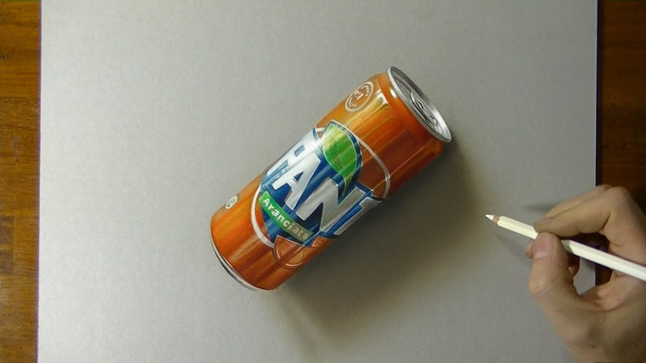 Drawing 3D Fanta - How to draw 3D Art tutorial