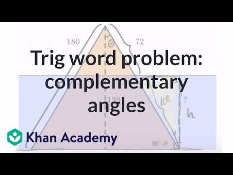 Trig Word Problem Complementary Angles Video Khan Academy