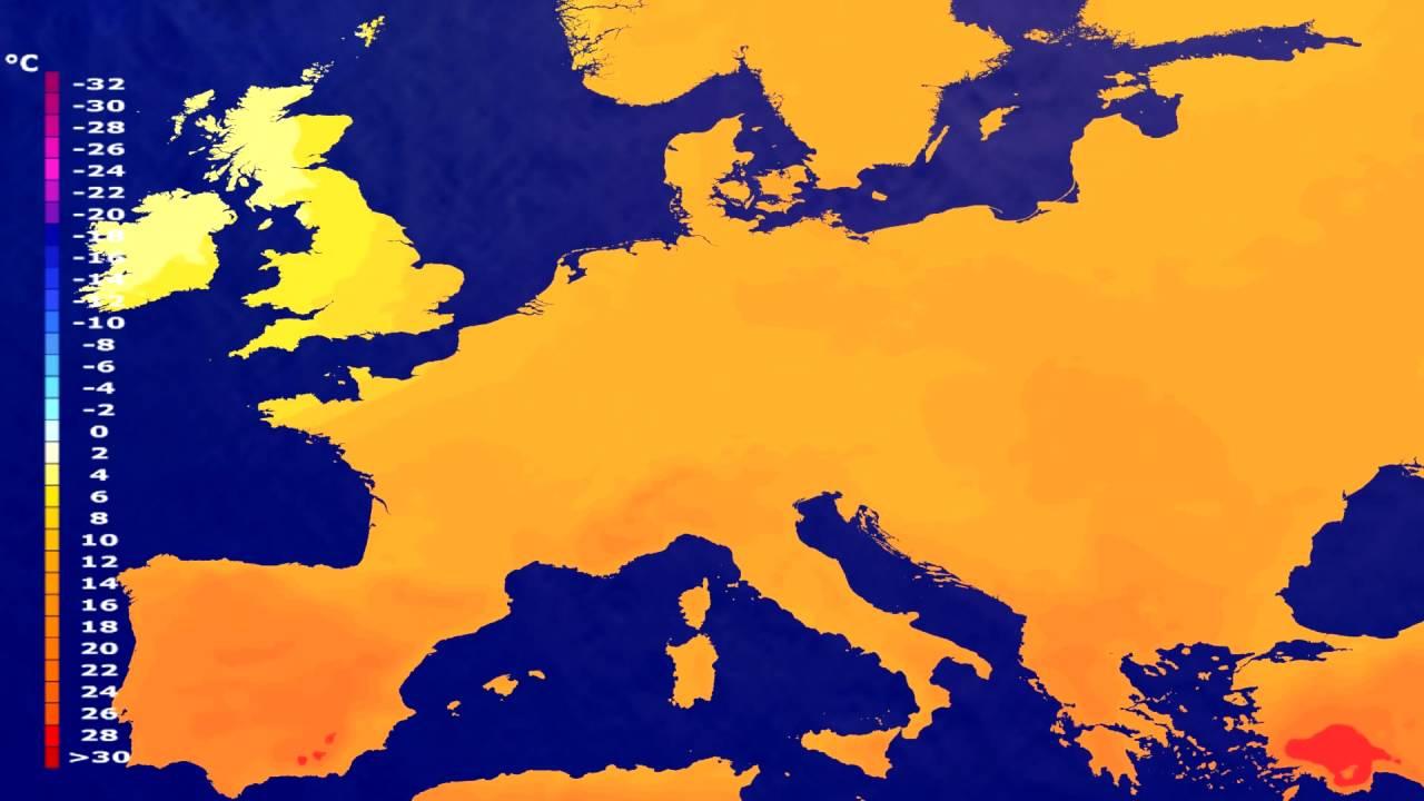 Temperature forecast Europe 2016-07-22