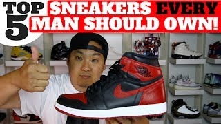 WATCH HERE! TOP 5 SNEAKER VIDEOS http://bit.ly/2bBWsR5Top 5 Sneaker Every Man Should Own!I know this is a subjective list, this is just my thoughts! Leave a comment if your list is different!If you want to buy any of the shoes mentioned in the video, check below!#5 Chuck Taylor All Stars! Vans http://bit.ly/2ua1yOPStan Smiths http://bit.ly/2uNdiVcNike Dunk http://bit.ly/2tJrKgT or http://bit.ly/2tJF0SwNike Air Force 1 http://bit.ly/2tJFEiU or http://bit.ly/2t0qb0Q#4 Nike Flyknit LunarEpic 2 Low http://bit.ly/2tJoL82 or http://bit.ly/2tJF0SwNike Lunarglide 8 http://bit.ly/2tJF0SwNike Vapormax http://bit.ly/2tZufhR or http://bit.ly/2rOUu9Y#3 Nike Air Max 90 Infrared http://bit.ly/2tJFQ1C or http://bit.ly/2tJjayKSaucony Grid 9000 http://bit.ly/2tJldD2 or http://bit.ly/2t0J3wFAsics Gel Lyte V http://bit.ly/2tJuNWv or http://bit.ly/2tJR6eJNew Balance  998 http://bit.ly/2tJuNWv or http://bit.ly/2tJST3g#2 Air Jordan 1 http://bit.ly/2soQsp1 or http://bit.ly/2tJvfEbAir Jordan 3 http://bit.ly/2tJs6nA or http://bit.ly/2tJvfEbAir Jordan 5 http://bit.ly/2tJsa6O or http://bit.ly/2tJvfEb#1 Ultraboost http://bit.ly/2lhL7vK or http://bit.ly/2sYey6U NMD http://bit.ly/2jOaQHl or http://bit.ly/2soDjw8Pure Boost http://bit.ly/2nGuwTVYeezy http://bit.ly/2raDnf693/17 EQT Boost http://bit.ly/2uexZwo or http://bit.ly/2q9fqVuShop best sneaker deals of the week here! http://bit.ly/2kuwqFv Shop Reshoevn8r Sneaker Cleaner & Products (use code HESKICKS for 10% off!) http://bit.ly/2g7eQBRSub To my son Heskicks Jr's Channel! http://bit.ly/2dtdykIShop My Favorite Sneaker Sites Here!Nikestore New Items: http://bit.ly/2jXegfhClearance http://bit.ly/2j18s06Adidas New Releases: http://bit.ly/2hZi9vyKicksUSA New Items http://bit.ly/293JMhLUBIQ New Items http://bit.ly/293JZS9Social Media for Heskickshttp://www.youtube.com/heskickshttp://www.twitter.com/heskickshttp://www.instagram.com/heskicksBusiness Contact email : heskicks@gmail.comShop Angelus Custom Paint for Sneaker http://bit.ly/2qY1qAKAbout Heskicks: Hes Kicks is a sneaker Youtuber that owns the sneaker blog site http://www.collectivekicks.com.  Heskicks reviews sneakers and posts sneaker related discussion videos. Heskicks has been collecting sneakers since 2003, and is an avid fan of anything sneaker related.