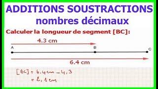 Maths 6ème - Additions et soustractions de nombres décimaux Exercice 4