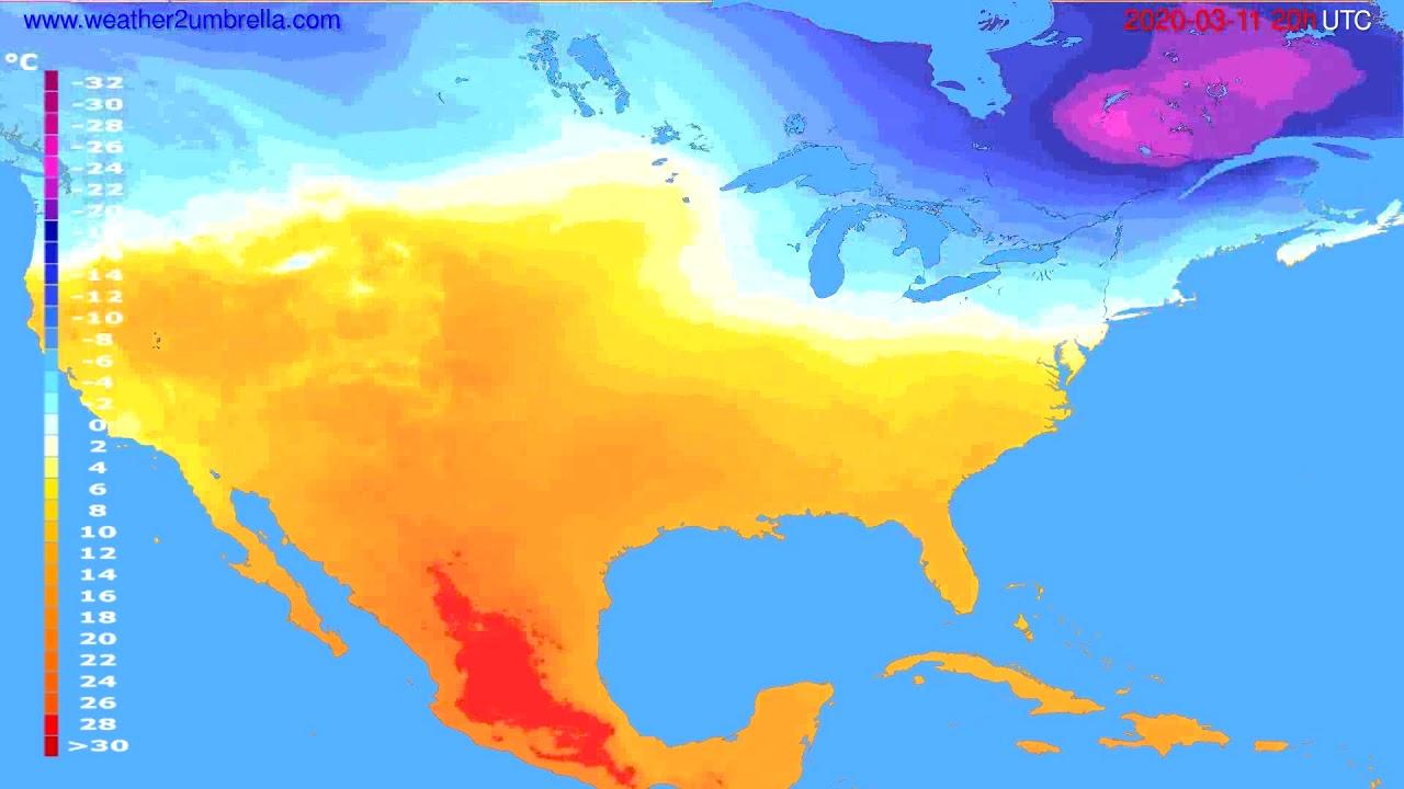 Temperature forecast USA & Canada // modelrun: 12h UTC 2020-03-10