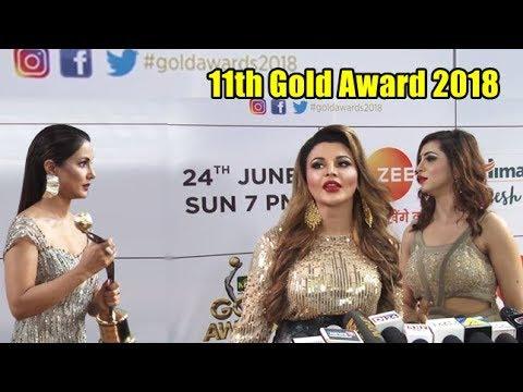 Hina Khan, Arshi Khan, Rakhi Sawant Arrive At 11th Gold Award 2018 (видео)