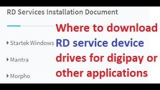 where to download rd service device drives for digipay or other applications How to run RD service