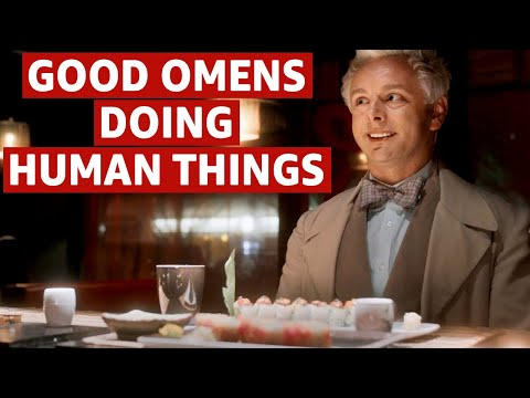 Crowley and Aziraphale Being Human | Good Omens Episodes | Prime Video