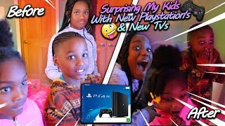 SURPRISING MY KIDS WITH NEW PS4's & TV's