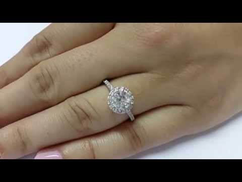 1 Carat D VS2 SI1 Round Natural Diamond Engagement Halo Ring 14K White Gold 1.00