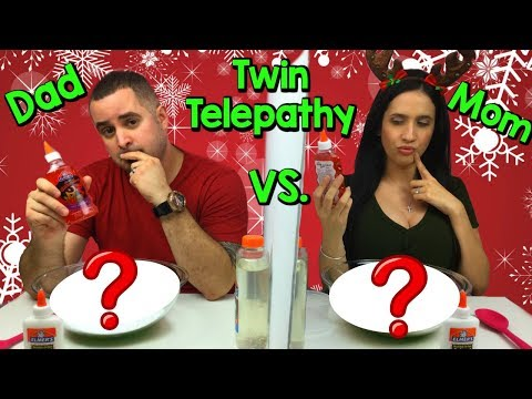 TWIN TELEPATHY SLIME CHALLENGE  MOM VS DAD! READING EACH OTHERS MIND! CHRISTMAS EDITION