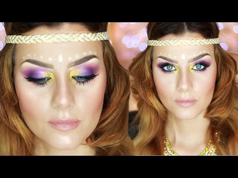 Music Festival Makeup Tutorial HIPPIE CHIC | None Fashion And Beauty