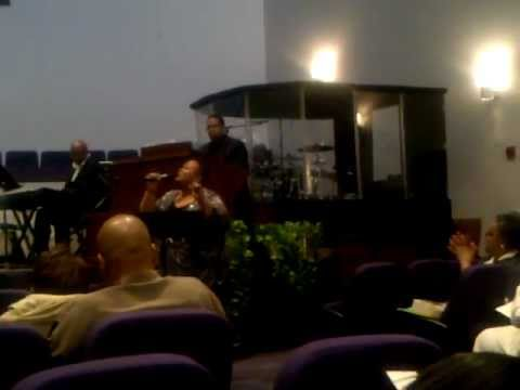 Pastor Phyllis Arnold ministering at funeral