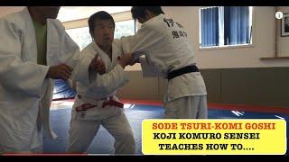 This video is about Sode tsuri-komi goshi, Its a hip throw. Special thanks to Teacher: Koji Komuro Sensei Sleeve lift pull hip judo throw demonstrated at Wel...