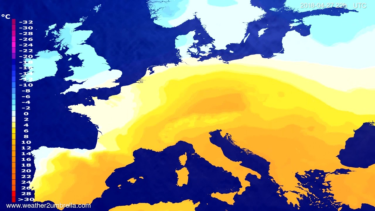 Temperature forecast Europe 2018-04-25