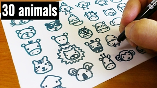How to draw 30 animals cute doodle !  kawaii & easy doodle
