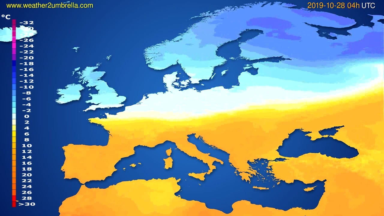 Temperature forecast Europe // modelrun: 00h UTC 2019-10-27