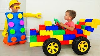 Vlad and Nikita Ride on Toy Sports Car & play with colored toy blocks