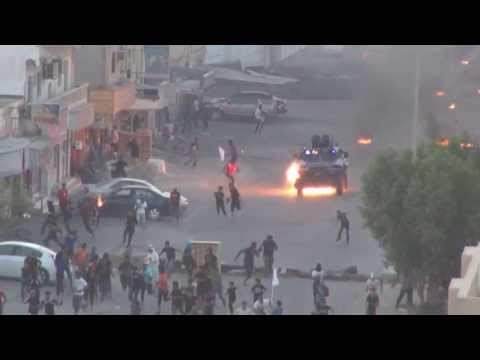 Bahrain : An Attempt To Run Over Protesters By Armored