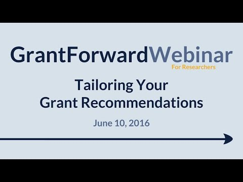 GrantForward Webinar held on June 10, 2016, for researchers and faculty at subscribing institutions. This webinar covers how to create a researcher create profile that precisely captures a researcher's research interests, in order to receive relevant grant recommendations. For more information about how to use GrantForward, visit www.GrantForward.com/support.