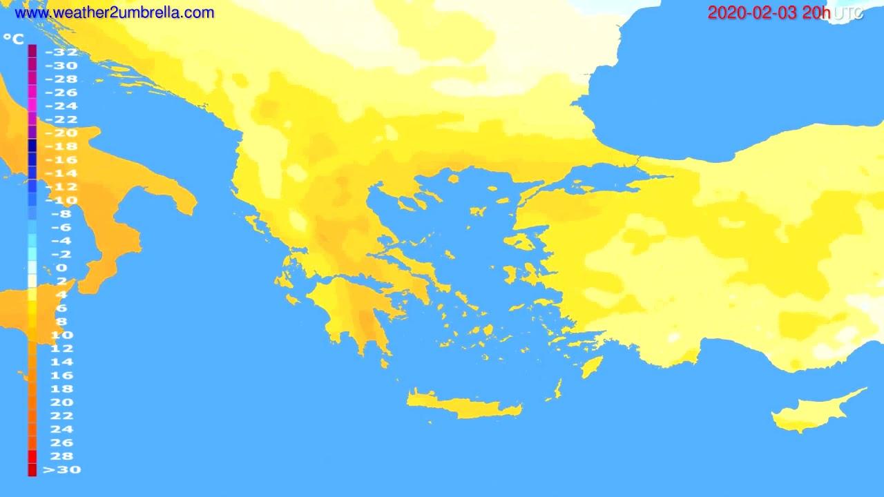 Temperature forecast Greece // modelrun: 12h UTC 2020-02-02