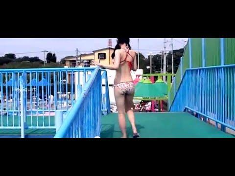 Asian Japanese Tennis Player tries FULL FIGURED SWIMSUIT BIKINI – School girls in uniform swimwear