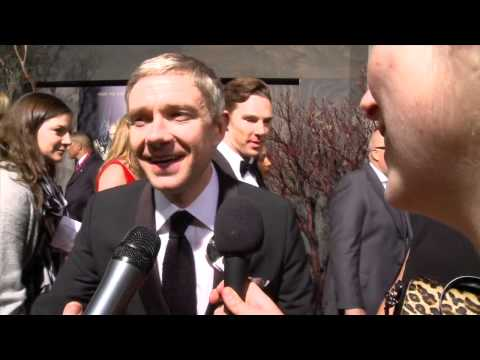 Martin - Smaug finds Bilbo as Benedict Cumberbatch sneaks up on Martin Freeman as the Happy Hobbits interview him live at the Hobbit Desolation of Smaug premiere in H...