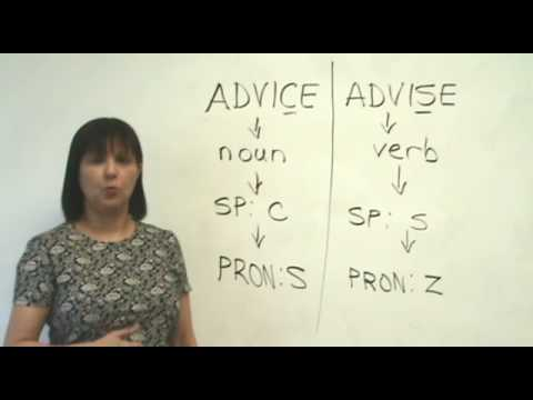 advise - http://www.engvid.com/ One of these words is the verb, and one is the noun. If you don't know which is which, you need to watch this lesson... Take the free ...