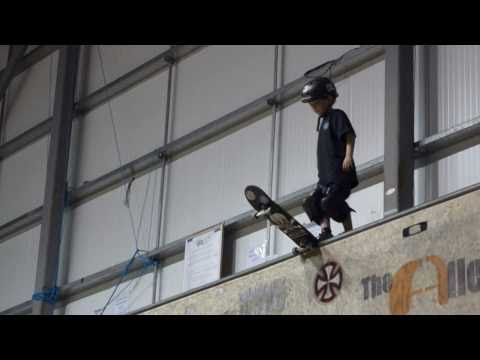 7yr old skateboarder first drop in on one of the largest vert ramps in UK