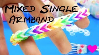 Loom Bands Mixed Single Armband Mit Gabel / How To Make An Easy Rainbow Loom Single Bracelet
