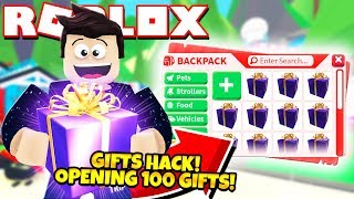 *GIFT HACK!* Opening 100 MASSIVE GIFTS in Adopt Me! NEW Adopt Me Gifts Update (Roblox)