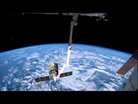 IN - ISS crew member Alexander Gerst shot this time lapse sequence of Orbital's Cygnus cargo vehicle being released from the Canada arm. Check out the 4K resolution!
