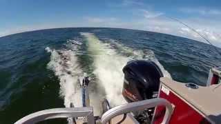 9. Bennington tri-toon with 250HP Yamaha VMAX 4-stroke outboard, trolling?