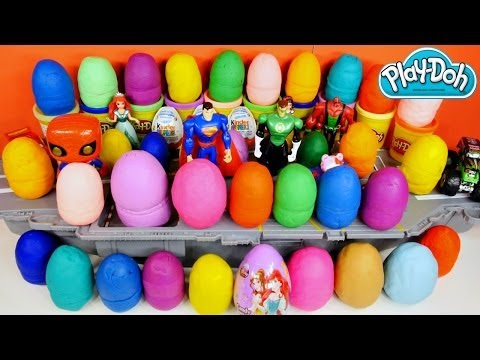 40 Play Doh Kinder Surprise Eggs PIXAR CARS BARBIE TRASH PACK DISNEY PRINCESS HELLO KITTY Playdough