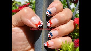 Nail Art step by step instruction Patriotic Polka Dots French Manicure. I'm so excited for the Fourth of July! Let me know what you would like to see next! The next video will be Fourth of July Toes! Be sure to share with your friends to keep those videos coming!Catch me on the following social media outlets: https://www.facebook.com/VxHONEYxV8/https://www.pinterest.com/vxhoneyxv8/ https://twitter.com/VxHONEYxV8https://www.instagram.com/allthingswithkerrym