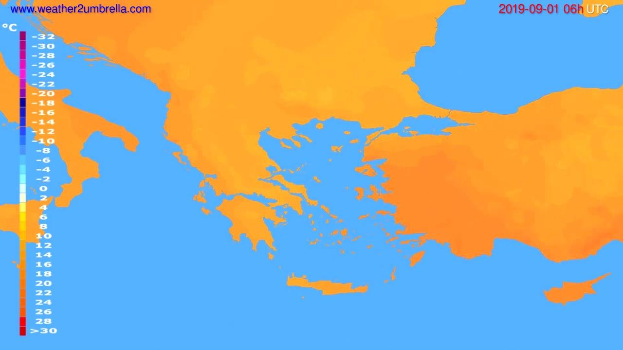 Temperature forecast Greece // modelrun: 12h UTC 2019-08-29